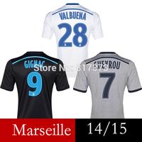 Black third Marseille jersey 14/15 GIGNAC CHEYROU MENDES Olympique de Marseille away gray PAYET VALBUENA Marseille soccer jersey