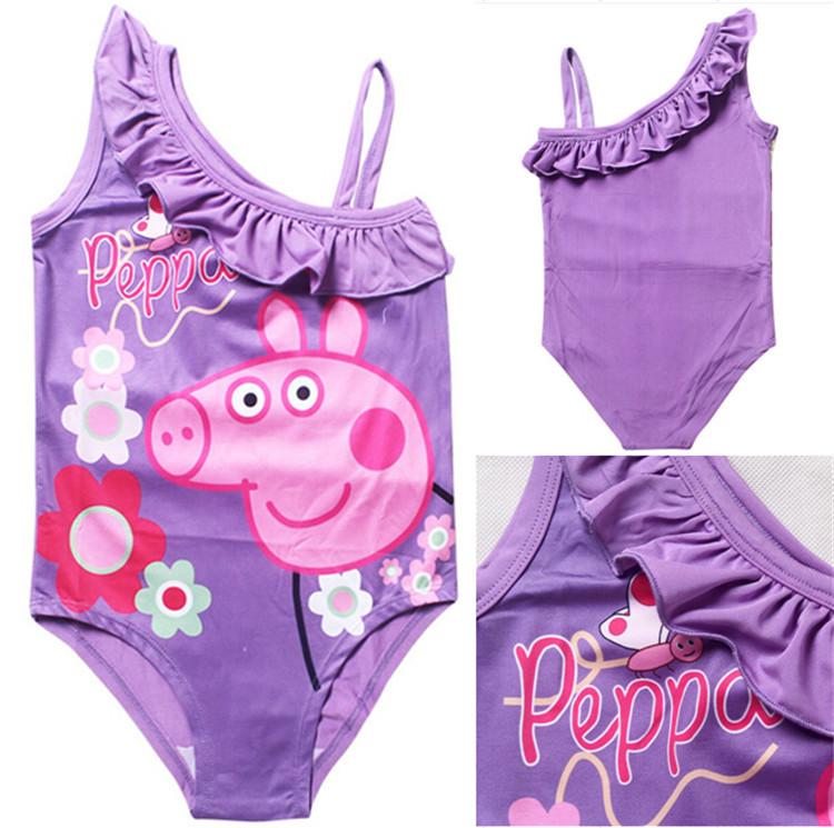 2015 HOT sale New cartoon bathing suit girl Pepe pig one piece Swimwear kid Girls Bikini Swimsuit Bathing Suit(China (Mainland))