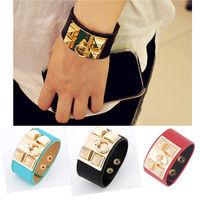 Fashion 2015New Rhinestone Leather Rivet Punk Bracelets