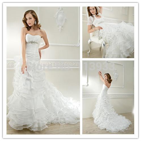 2015 Short Sleeves Jacket Crystals Ruched Ruffles Backless Vestidos de novia Romantic Wedding Dresses Bridal Gowns Custom Made(China (Mainland))