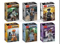 Decool 6pcs Zombie World Manger Police Emmet Sleephead Nurse Super Heroes Avengers minifigures plastic Building Block Sets toys