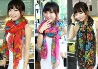 Big Flowers Long Scarf Vintage Women Floral Scarves New Style Spring Autumn Pashmina Shawl Free Shipping