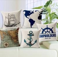 45*45cm Mediterranean Map Anchor Boat Home Decorative Cushion Cover For For Sofa High Quality Throw Pillow Cover Pillowcase