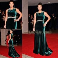 Vestido de Noite 2015 Sleeveless Crystal Beading Emerald Color Mermaid Celebrity Evening Dresses 2015