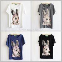 [Magic] 2015 rabbit print women/girl t shirt Manual nail pearls blouse tees plus batwing sleeve big size casual dress wholesale