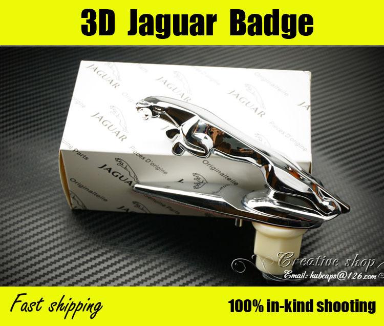 High Quality! Zinc Alloy 3D Car Badge, Jaguar Hood Badge Head Emblem Mark Symbolize Leaping Cat Logo Spring Free Shipping(China (Mainland))