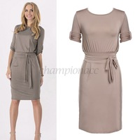 High Quality Bandage Party Dresses With Belt Plus Size Tunic Dress Casual Women 3/4 Sleeve Knee-Length work wear S/M/L/XL B16