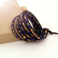 VIKIKO wrap bracelets black leather cord bracelet natural  stone mixed color  free shipping VK0005