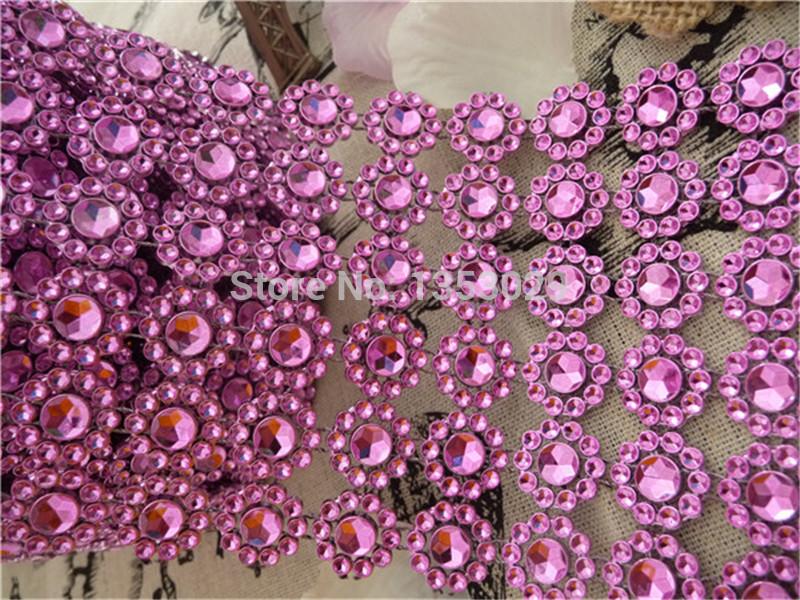 "Free Shipping 6rows 3.75""x5Yards(15ft) Pink Daisy Flower Rhinestone Diamond Mesh Wedding Cake Decor Crystal Wrap Ribbon Wrapping(China (Mainland))"