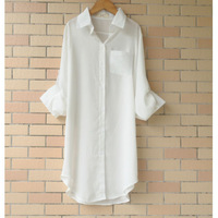 2015 New long-sleeved cool chiffon shirt summer loose Plus Size long section of white blouse female