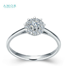 AMOR BRAND THE FLOWER OF LOVE SERIES 100% NATURAL DIAMOND 18K WHITE GOLD RING JEWELRY JBFZSJZ294