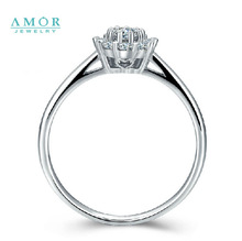 AMOR BRAND THE FLOWER OF LOVE SERIES 100 NATURAL DIAMOND 18K WHITE GOLD RING JEWELRY JBFZSJZ294