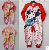 Children girl kitty / princess Pyjamas Cartoon Cosplay Costume Pajamas Kids One piece Sleepwear fleece sleeper winter homewear