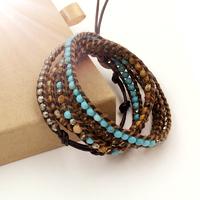 VIKIKO wrap bracelets Brown leather cord bracelet natural turquoise pyrite stone mixed color  free shipping VK0002
