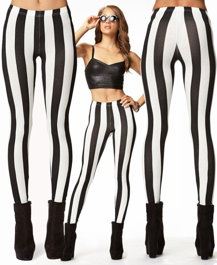 Женщины в леди искусство сексуальный чёрно-белый полоска печать леггинсы брюки легинсы