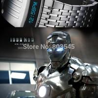 5pcs New Fashion Digital Men Full Steel Led Watch Sport Watches Military Watches Metal LED Faceless Bracelet Watch Wristwatch