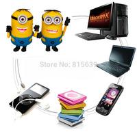 Fashionable lovely cute Minions mini speaker, build-in FM support TF card, portable subwoofer sound box, mini caixa de som.