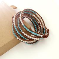 VIKIKO wrap bracelets Brown leather cord bracelet natural turquoise Top shell free shipping VK0019