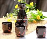 5 Piece Japanese Sake Set Elegant Ceramic Sake Bottle & Cups Wine Gifts Black Glaze Hand Painted Red Plum Blossom Flower Pattern