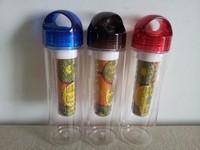 2014 New Plastic Cup Water Bottle Transparent Bottle Creative Fruit Kettle Lemon Bottle Outside Sport Fruit Cup