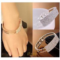 New Fashion Elegant Women Bangle Wristband Bracelet Crystal Cuff Bling Lady Gift Bracelets & Bangles
