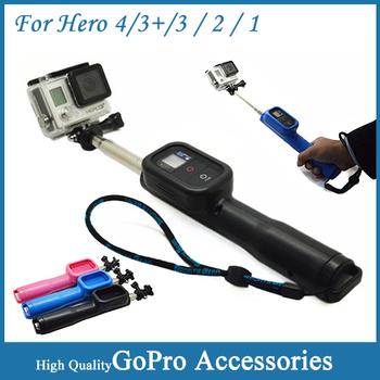 Gopro пульт дистанционного полюс ручной монопод с wi-fi пульт дистанционного корпус и винт и ремешок для Gopro герой 4 3 + / 3 / 2 спортивная камера