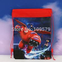 factory price Free shipping 2pcs/lot big hero6 Cartoon Bag-woven fabrics Kid's School bag 34X27CM,party gift