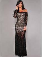2015 New Style Crochet Slash Neck Long Sleeve Lace Evening Dress Bodycon Mermaid Dress Party Dresses Vestido De Renda S M L