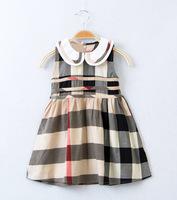 Retail New Summer Fashion Brand Plaid White Doll Collar Sleeveless Dress For 2-6Years Baby Girls British  style Princess Dress