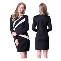 Hot Sale Women Dress 2015 New Brand Fashion one-neck Tights Work Wear Winter Dress Plus Size Casual Office Dress Blue