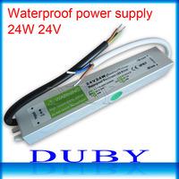 100piece/lot 24V 1A  24W Waterproof LED Driver Power Supply Outdoor AC90V-250V Input,24V Output Free Fedex
