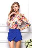 2015 Hot Spring Women's Blouse V-neck Chiffon Long Sleeve Flower Printed Shirt Women Casual Clothing Blusas Femininas Camisas