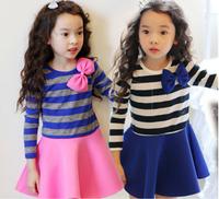 2015 Spring new style children dress korean pure cotton stripe bowknot long sleeve girls princess dress