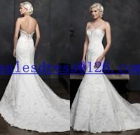 Vestido de noiva sereia 2015 Lace Wedding Dress Strapless vestido de renda Long Train Mermaid Wedding Dresses