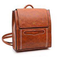 New arrival female PU leather backpack vintage thick lines backpacks fashion casual women's bag schoolbag shoulder bag