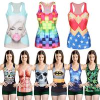 Punk Girl Digital Print Tank Top Vest Summer  Tank Tops  Gothic Punk Clubwear For Freeshipping