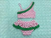 Hot pink green chevron swimming suit chevron bikini