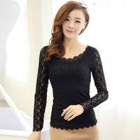 Full lace spring new Korean female double bottoming shirt round neck long-sleeved lace T-shirt wavy edgewomen Shirt