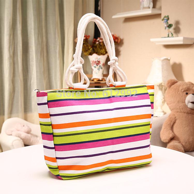 Fashion striped handbag multi color women casual tote shoulder bag Chromatic stripe big canvas bags(China (Mainland))