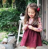 2015 New Spring Korean Style False Two piece Girl Dress Floral Print Girls Dresses Children Cotton Flower Dress