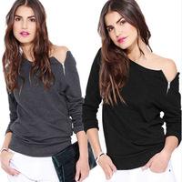 hot selling women t-shirt lady tops shoulder zipper design
