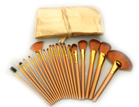 New Arrived Free Shipping Professional 21pcs Gold Color Soft Makeup Brushes Set Synthetic Hair Cosmetic Brush Kit with Leather