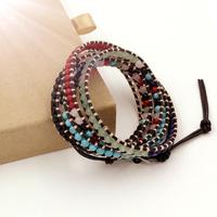 VIKIKO wrap bracelets Brown leather bracelet Red coral powder crystal jade black agate stone mixed color  free shipping VK0004