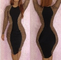 Beauty online 2014 New Fashion Women Sexy Long Sleeve Leopard Printed Bodycon Casual Bandage Dress YH015 S M L Plus Size