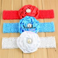 Baby Rhinestone Hair Bow with Lace headband Mix Color 30pcs/Lot