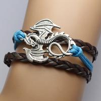 2015 Hot sale Europe fashion jewelry cortical layers dragon bracelet pulseras
