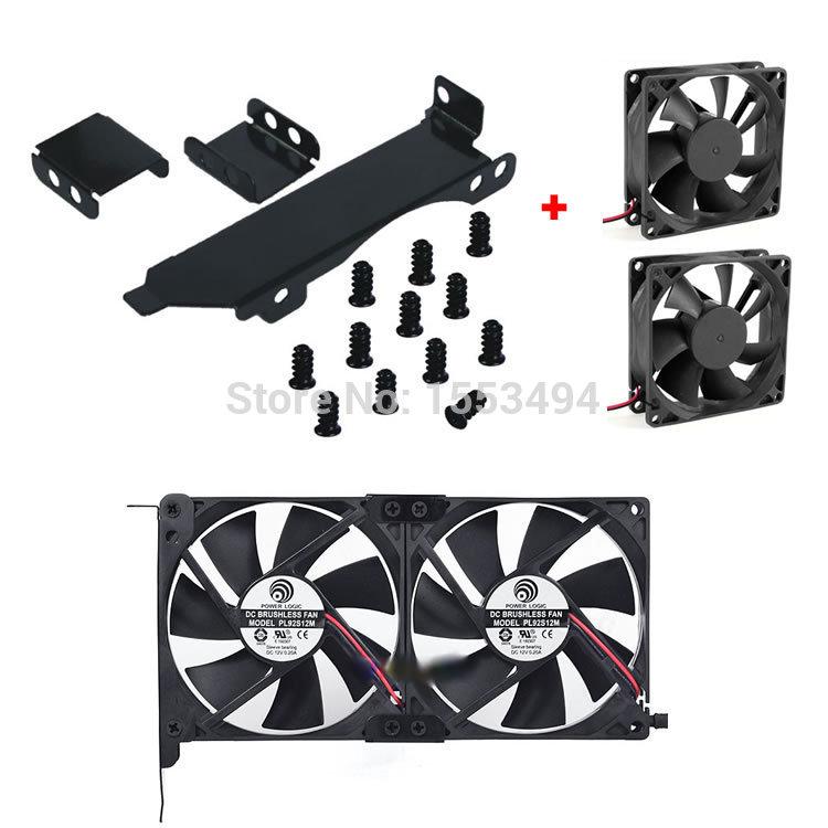 Dual Fan Mount Rack PCI Slot Bracket for Video Card +2 80MM PC Case Fan(China (Mainland))