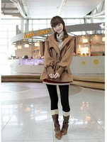 Women Casual Drawsting Long Sleeve Coat Fashion Jacket with Hat Free Shipping f6570