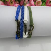 2015 Hot sale Europe LOVE infinite multilayer bracelet velvet rope bracelet with leather rope wax rope fashion bracelets
