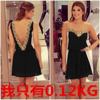 V sexy backless Sleeveless Women's skirts spliced mesh chiffon lace dresses